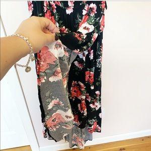 torrid Dresses - Torrid off the shoulder black floral wrap dress